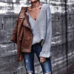 Sweaters - Oversized V Neck Sweater